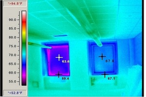 Infrared imaging shows window frame surface temperature differences of nearly 8ºF between the old unit on the left and the new Wausau INvent unit on the right. The exterior temperature was 33ºF. The interior temperature was 71ºF.